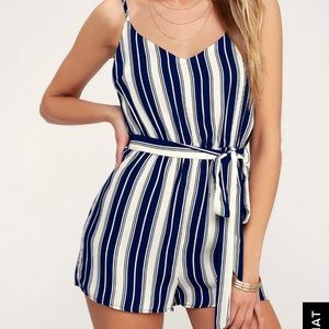 Lulus Carraway Navy Blue and White striped romper